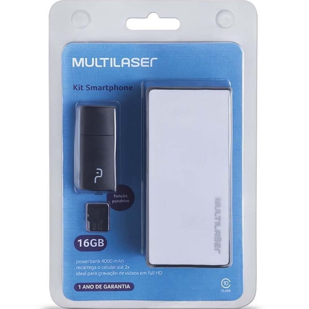 Kit 3 em 1 com Power Bank Pendrive e Cartão SD 16GB MC220 1 UN Multilaser
