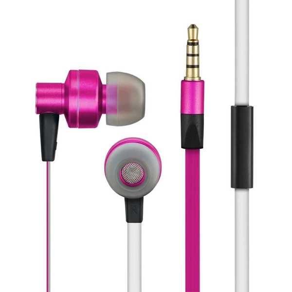 Fone de Ouvido In Ear Metal com Microfone P2 Rosa e Branco PH155 1 UN Pulse