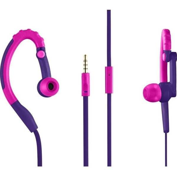 Fone de Ouvido Earhook Sport Stereo Áudio Microfone Roxo PH206 1 UN Pulse