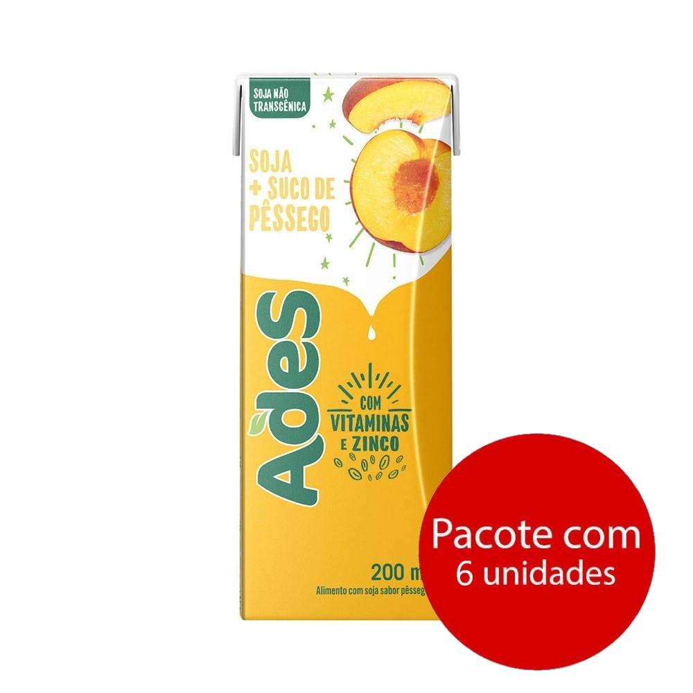 Bebida à Base de Soja Pêssego 200ml 6 UN Ades