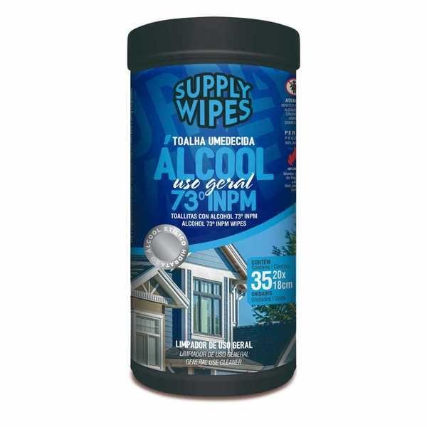 Lenço Umidecido Antisséptico Álcool Uso Geral 35 UN Supply Wipes