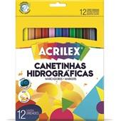 Caneta Hidrográfica Colorir 12 Cores Acrilex