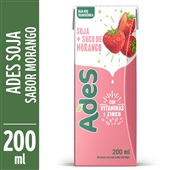 Bebida à Base de Soja Sabor Morango 200ml Ades