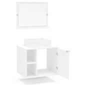 Balcão Suzano para Banheiro com Espelho Branco Politorno