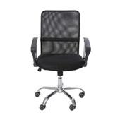 Cadeira Giratória com Tecido em Nylon Aço Carbono Cromado em PU e Tela Mesh Preta 1 UN OR Design