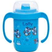 Copo Antivazamento com Alça Zoo 250 ml Azul 1 UN Lolly