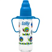 Mamadeira com Alça Zoo Azul 240ml 1 UN Lolly