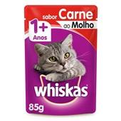 Sachê de Ração Úmida para Gatos Adulto Sabor Carne ao Molho 85g Whiskas