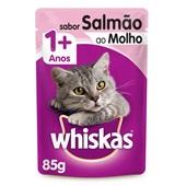 Sachê de Ração Úmida para Gatos Adulto Sabor Salmão ao Molho 85g Whiskas