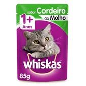 Sachê de Ração Úmida para Gatos Adulto Sabor Cordeiro ao Molho 85g Whiskas