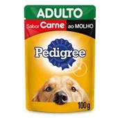 Sachê de Ração Úmida para Cães Adultos Sabor Carne ao Molho 100g Pedigree