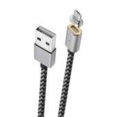 Cabo micro USB-V8 com conector magnético nylon trançado 1,5 metros Cinza Escuro Geonav