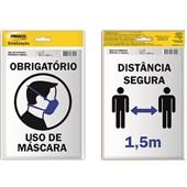 Placa de Sinalização Obrigatório Uso Máscara e Distância Segura Pimaco