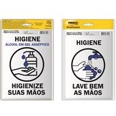 Placa de Sinalização Higienize suas Mãos Álcool em Gel e Lave Bem as Mãos 2 UN Pimaco