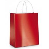 Sacola para Presente Metalizado Vermelha 26x19,5x9,5 1 UN Cromus