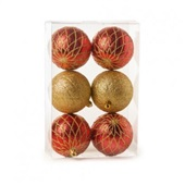 Conjunto de Bolas para Decoração Texturizadas 8cm Vermelho e Ouro 1712694 JG 6 UN Cromus