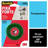 Fita Dupla Face Scotch Fixa Forte 19mm x 2m Transparente 1 UN 3M