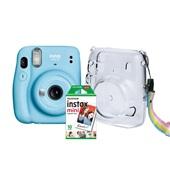 Kit Câmera Instantânea Instax Mini 11 Azul + Pack 10 filmes + Bolsa Cr