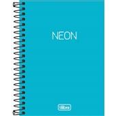 Caderneta Espiral Capa Plástica 1/8 sem Pauta Neon Azul 80 FL 1 UN Tilibra