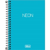 Caderneta Espiral Capa Plástica 1/8 sem Pauta Neon Azul 80 FL 1 UN Til