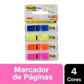 Marcador de Página Adesivo Flags Transparentes 4 Cores 11,9 mm x 43,2 mm 140 folhas Post-it