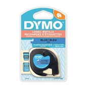 Fita para Rotulador LetraTag 12mm x 4m Preto e Azul 91335 1 UN Dymo