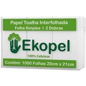 Papel Toalha Interfolha 2 Dobras 20x21cm PT 1000 FL Ekopel