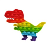 Pop It Fidget Brinquedo de Apertar Anti Stress Arco Íris Dinossauro