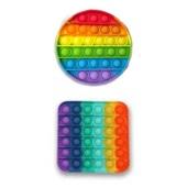 Pop It Fidget Brinquedo de Silicone de Apertar Anti Stress Círculo ou Quadrado Arco Íris 1 UN