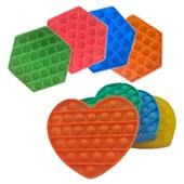 Pop It Fidget Brinquedo de Silicone de Apertar Anti Stress Octógono ou Coração Cores Sortidas 1 UN