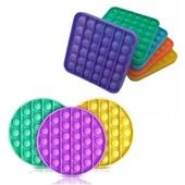 Pop It Fidget Brinquedo de Silicone de Apertar Anti Stress Círculo ou Quadrado Cores Sortidas 1 UN