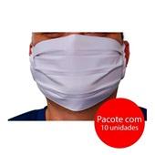 Máscara Facial Dupla Tecido Lavável Tiras Tamanho Único Cores Sortidas PT 10 UN White