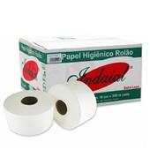 Papel Higiênico Folha Simples Rolão 300m Celulose CX 8 RL Indaial
