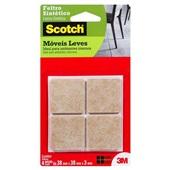 Protetor Adesivo de Feltro Sintético Quadrado Scotch Marrom Grande 4 UN 3M