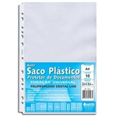 Envelope Saco Plástico A4 13 Furos 234x304mm PT 10 UN Chies