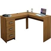 Mesa Escrivaninha Fênix com 3 Gavetas Castanho 75,5x127x46,5cm 1 UN Politorno
