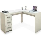 Mesa Escrivaninha Fênix com 3 Gavetas Branca 75,5x127x46,5cm 1 UN Politorno