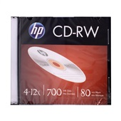 CD-RW Regravável 80 Minutos 700MB 4-12X Slim 1 UN HP