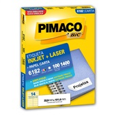 Etiqueta Adesiva InkJet e Laser Carta 33,9x101,6mm Branco 6182 CX 1400 UN Pimaco