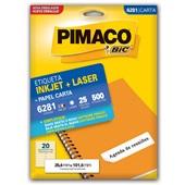 Etiqueta Adesiva InkJet e Laser Carta 25,4x101,6mm Branco 6281 CX 500 UN Pimaco