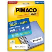 Etiqueta Adesiva InkJet e Laser Carta 33,9x101,6mm  Branco 6082 CX 140 UN Pimaco