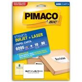 Etiqueta Adesiva InkJet e Laser Carta 59,27x85,73mm Branco 6095 CX 80 UN Pimaco