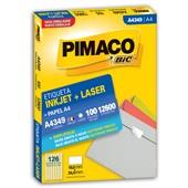 Etiqueta Adesiva InkJet e Laser A4 15x26mm Branco A4349 CX 12600 UN Pimaco