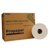 Papel Higiênico Folha Simples Rolão 500m Celulose CX 8 RL Propaper