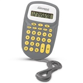 Calculadora de Bolso 8 Dígitos com Cordão Cinza e Amarelo MX-C86 Maxprint