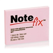 Bloco Adesivo 100 Folhas 76x102mm Rosa 1 UN Notefix