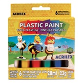 Tinta Plástica Abelinhas 6 Cores 20ml Acrilex