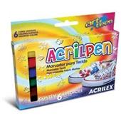 Caneta para Tecido Acrilpen 6 Cores 6 UN Acrilex