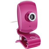 Webcam Facelook com Microfone 16Mp USB Pink WC048 1 UN Multilaser