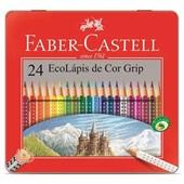 Lápis de Cor Triangular Grip Estojo de Lata 24 Cores Faber Castell